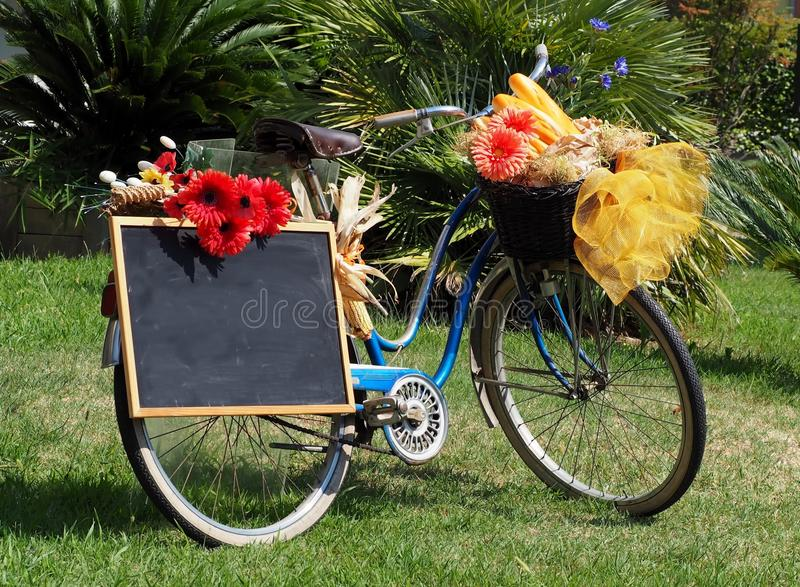 Old blue bicycle, adorned with flowers, with a blank black chalkboard, used as an advertising poster. stock photo