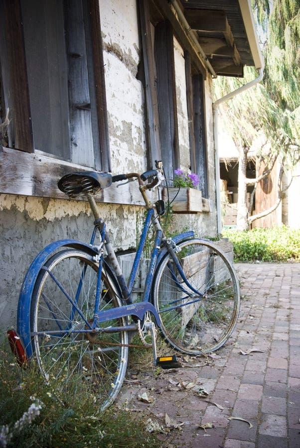Old Blue Bike stock photos