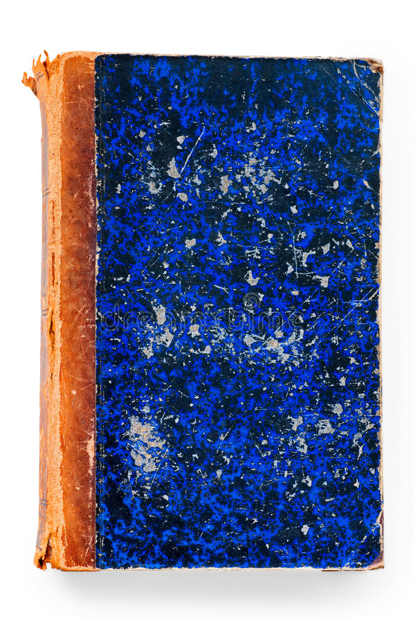 Old blue book. Old blue scratched book cover isolated on white with clipping path royalty free stock photography