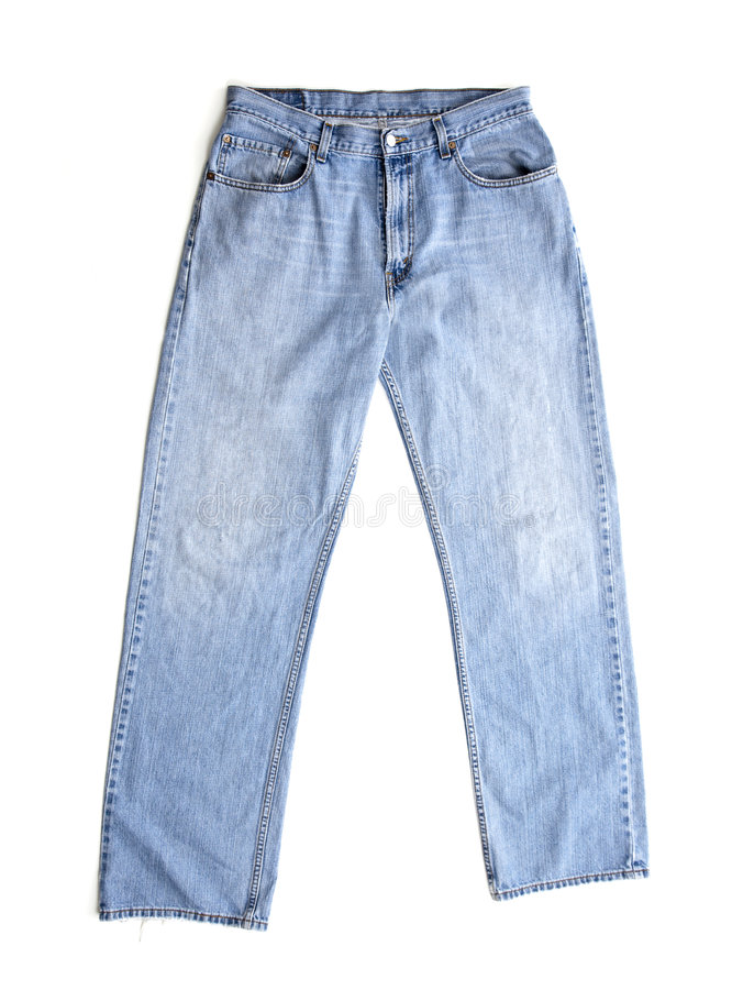 Old Blue Jeans on White stock image