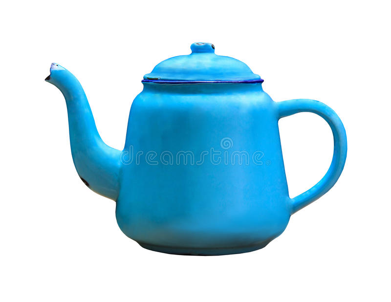 Old blue kettle, isolated on white background. Vintage metal old blue kettle, isolated on white background stock photo