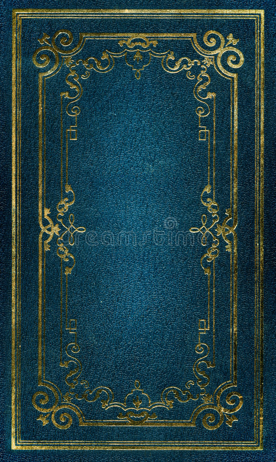 Free Old Blue Leather Texture Gold Frame Stock Images - 3779754
