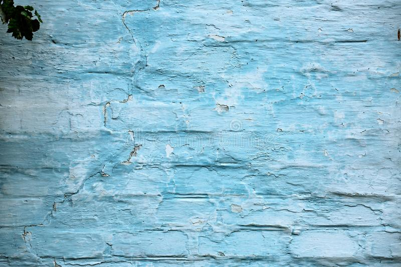 Old blue painted brick wall abstract background royalty free stock image