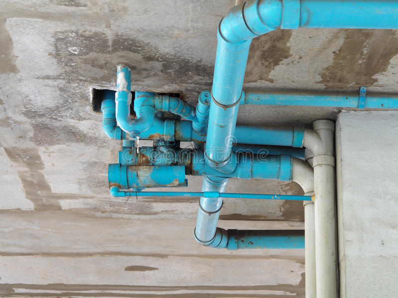 Old blue pipe stock photo