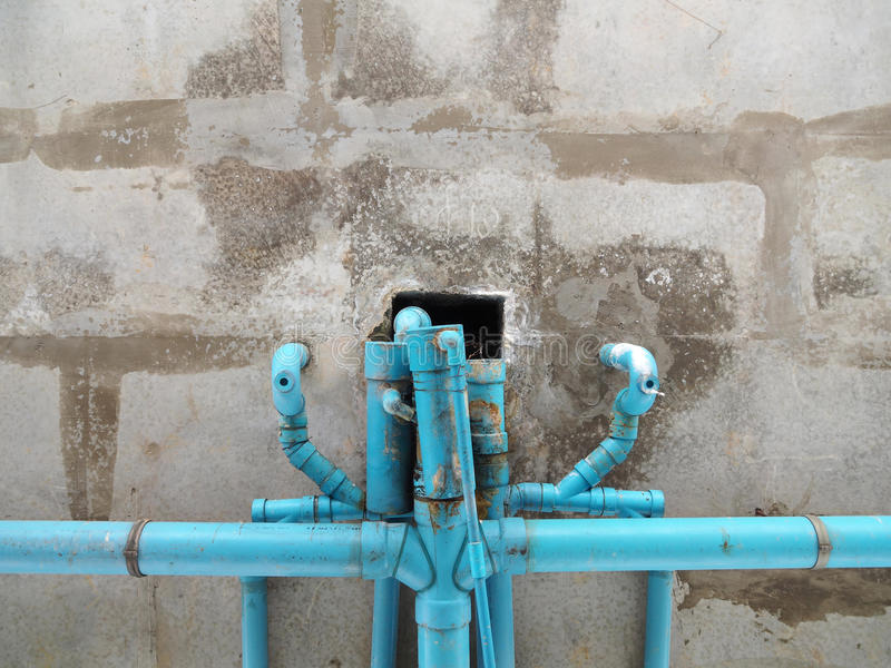 Old blue pipe stock image