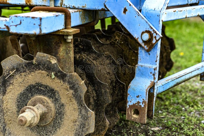 This is old a blue plow stock image