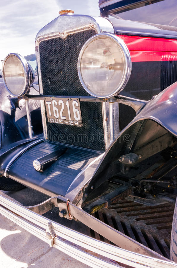 Old blue retro hot-rod reflections stock images