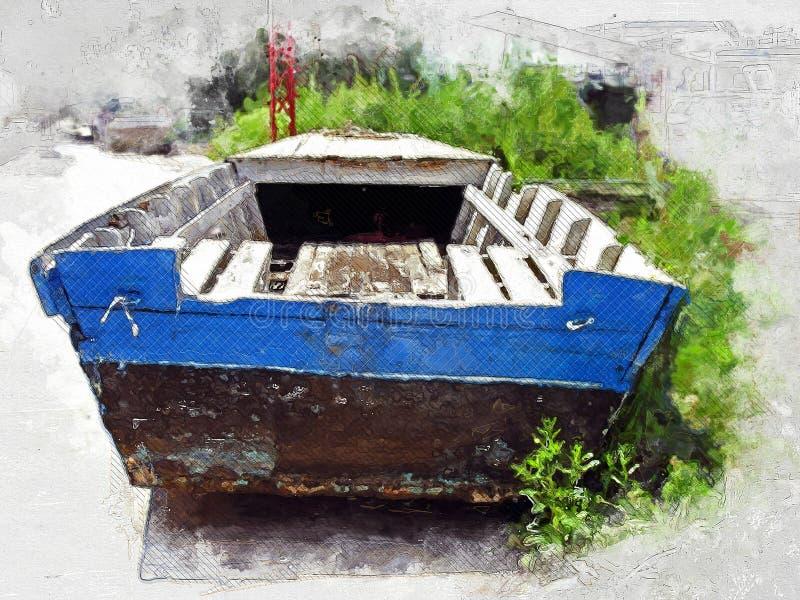 Old Blue River Boat. Illustration stock image