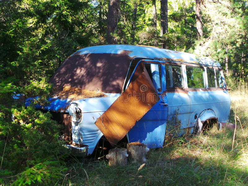 Old blue van stock photos
