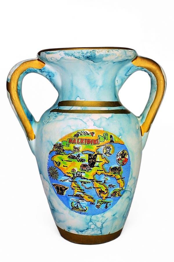 Old blue vase. Isolated on white background royalty free stock image