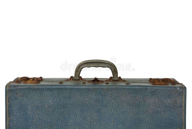 Old blue vintage bag suitcase isolated on white background, copy space stock image