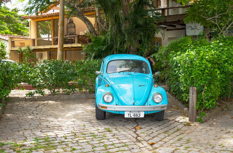 Old blue Volkswagen Type 1 Beetle, parked in Buzios. Brazil stock images