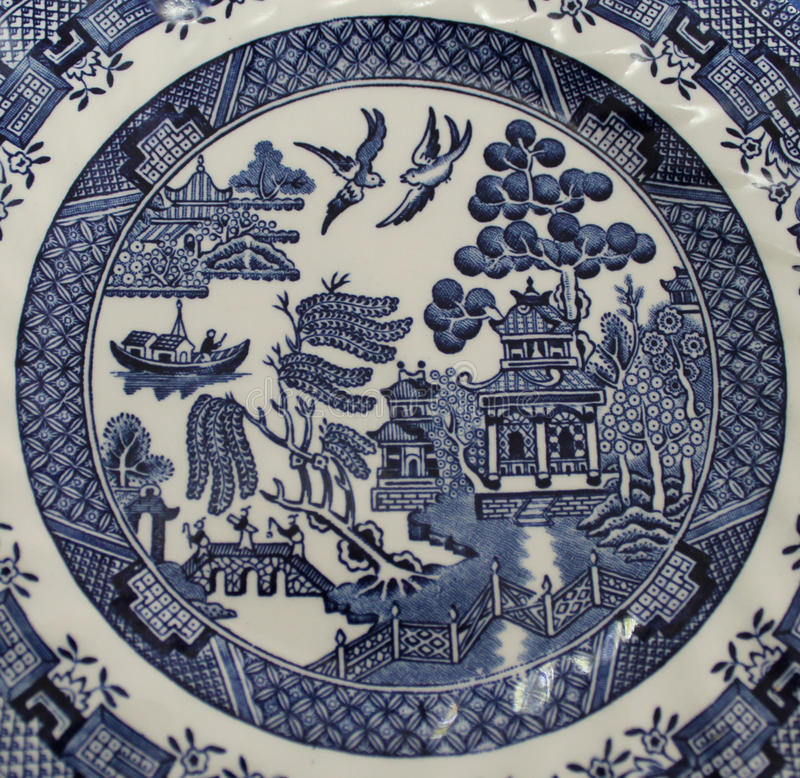 Old Blue Willow China Pattern Plate. Detail of the Old Blue Willow pattern. This classic pattern has been popular for centuries and has been produced by many royalty free stock image