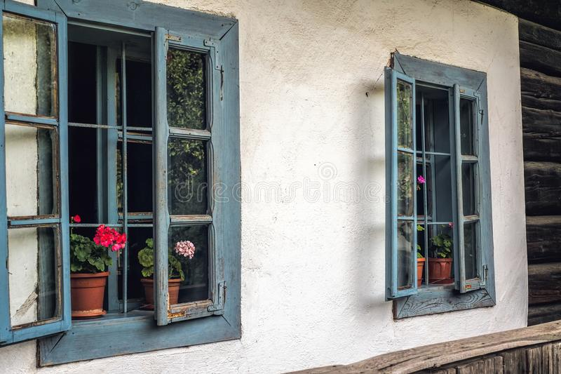 Old blue windows. Close view stock image