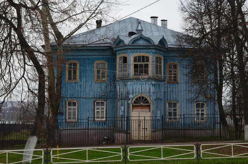 Old blue wooden house. Russia, Murom. royalty free stock images