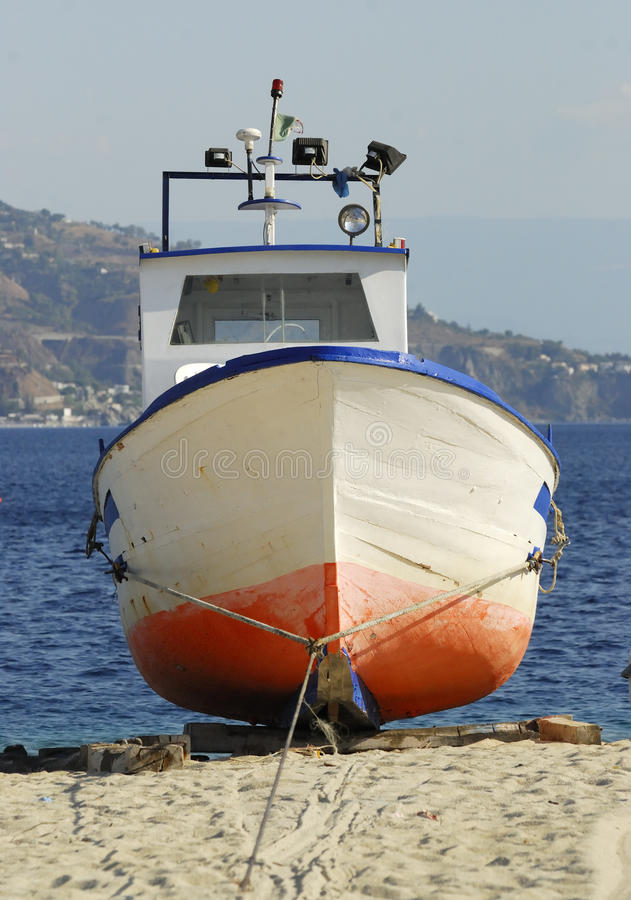Old boat. Detail of an old boat. Calabria, italy stock photo