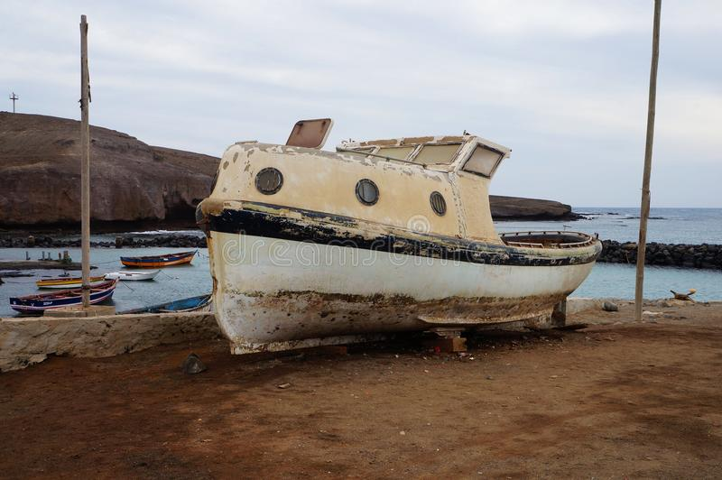 Old boat in Africa stock photos