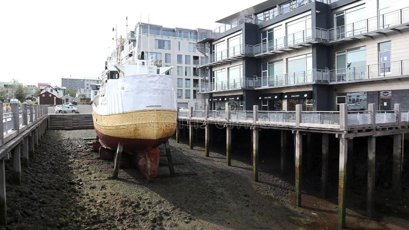 Old boat being repaired on dry land royalty free stock photos