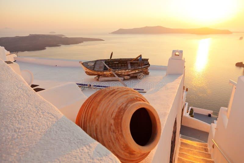 Old boat in Firostefani, Santorini royalty free stock photography
