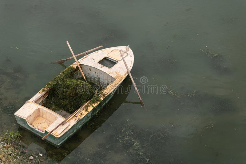 Old boat in the lake near the shore. Water purification of the river from algae.  stock photos