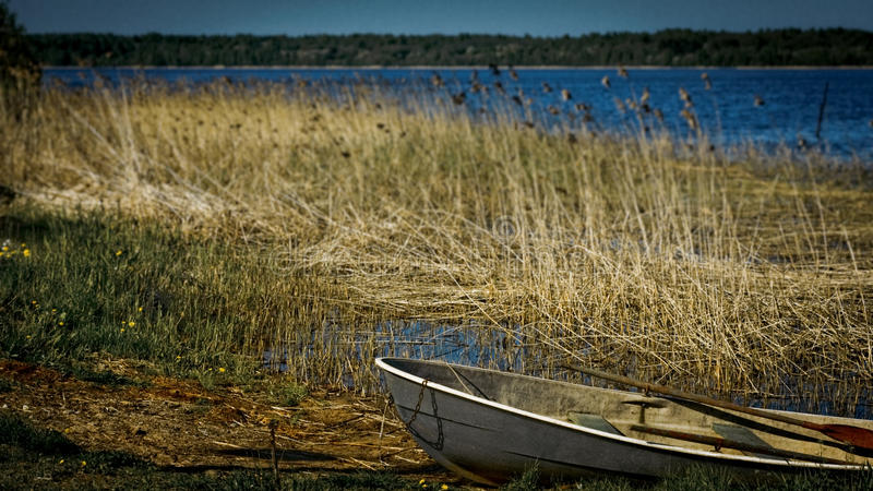 Download Old Boat With Oars Layng On A Lake Shore Stock Photo - Image of wood, wooden: 24842298