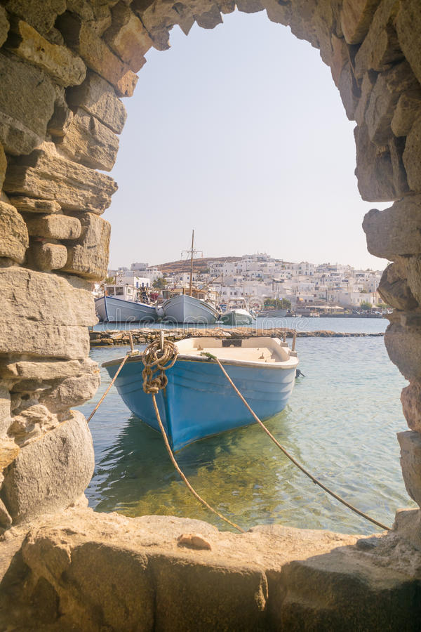 Old boat at Paros island in Greece. View from inside the Kastelli castle. stock image