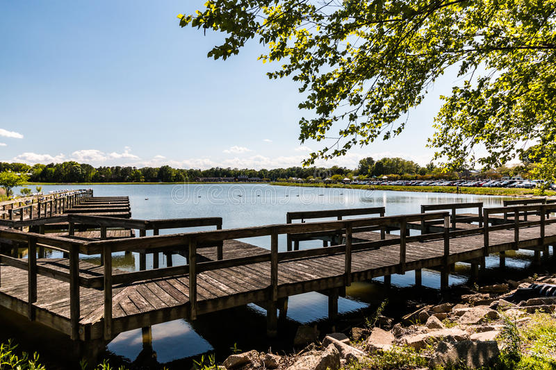 Old Boat Rental Dock at Mount Trashmore in Virginia Beach stock photos