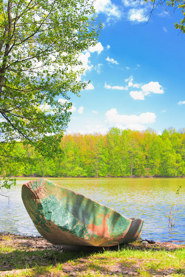 Download Old boat at the riverside stock photo. Image of rural - 24694438