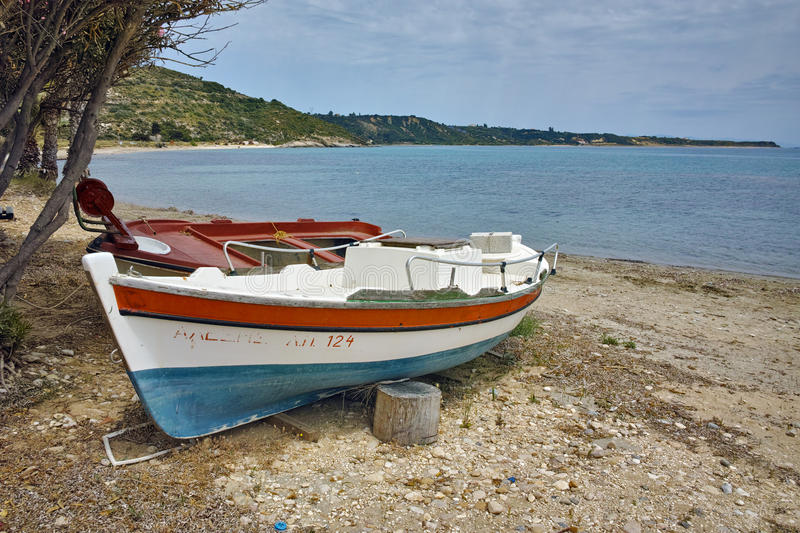 Old Boat at small port, Kefalonia, Ionian islands, Greece royalty free stock photography