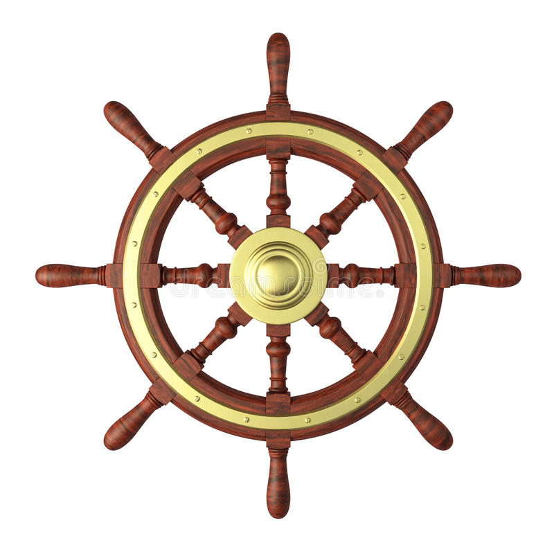Old boat steering wheel stock illustration. Image of illustration - 22976153