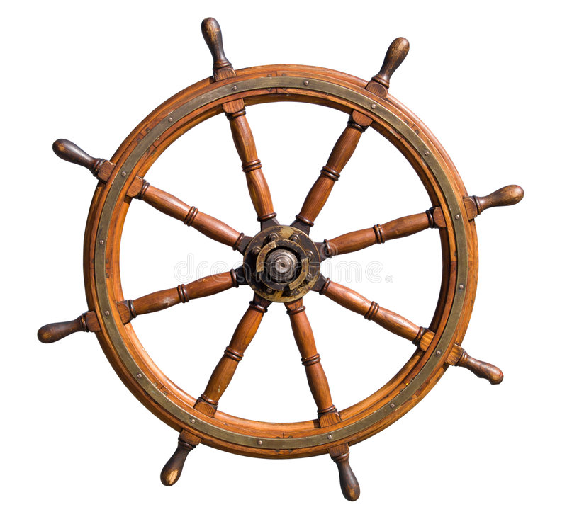 Free Old Boat Steering Wheel Cutout Stock Image - 3178591