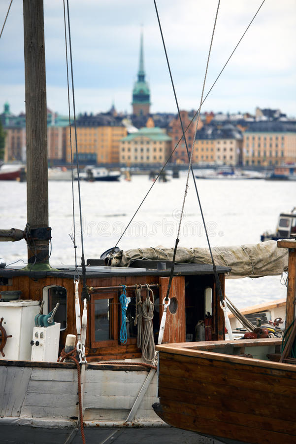 Old Boat In Stockholm Royalty Free Stock Photos