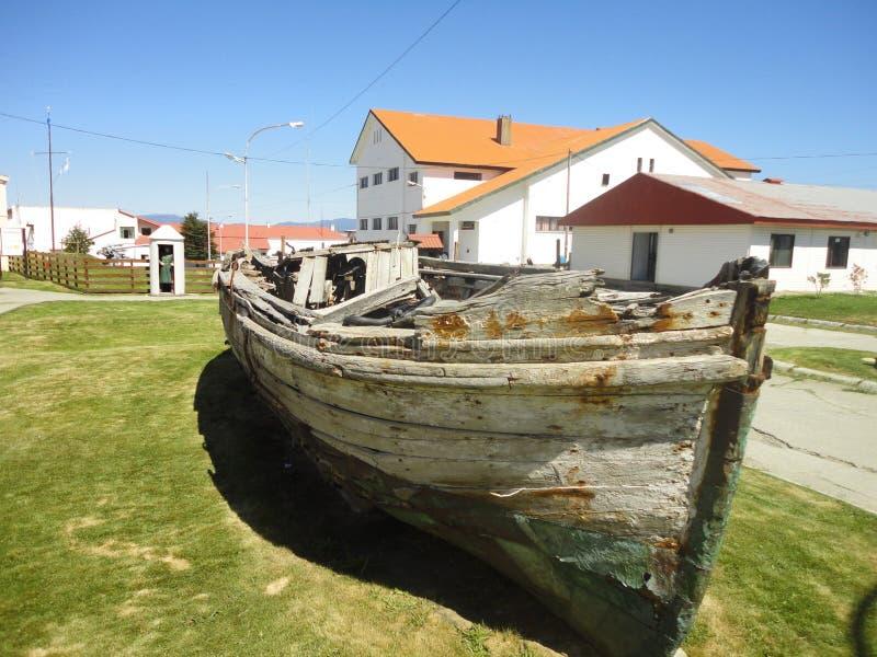 Old boat tierra del fuego stock photos