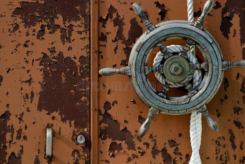 Old boat wheel royalty free stock photos