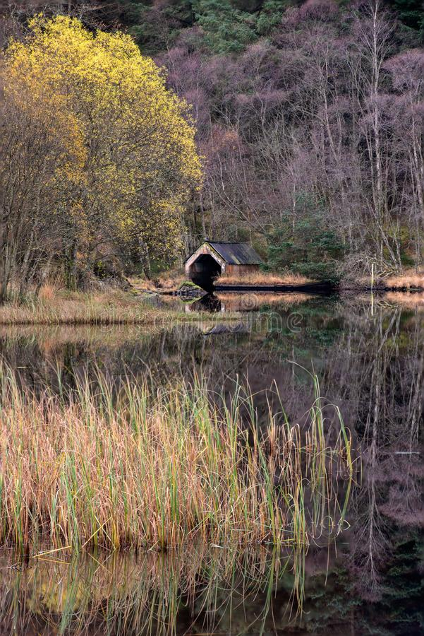 Old Boathouse on Loch Chon, Trossachs, Scotland stock images