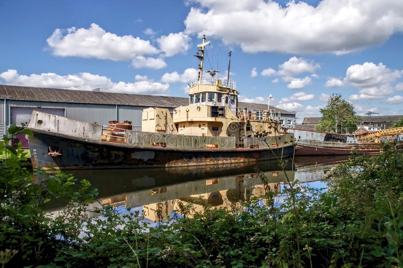 Old Boats Along The Exeter Canal royalty free stock photography