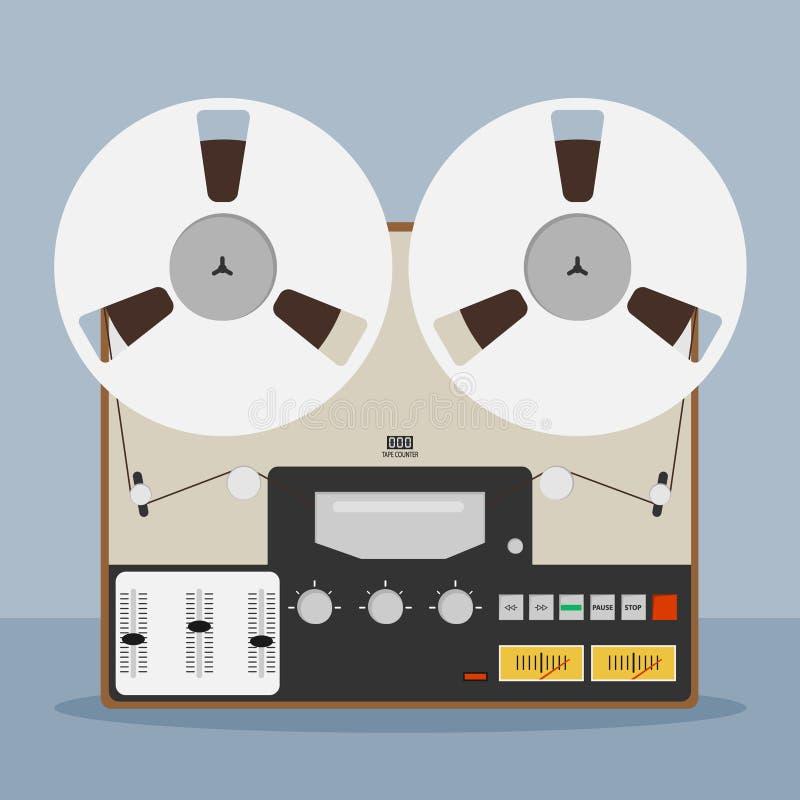Old bobbin tape recorder. Vintage Analog Reel Tape Recorder. Original Vintage Analog Reel Tape Recorder. vector illustration