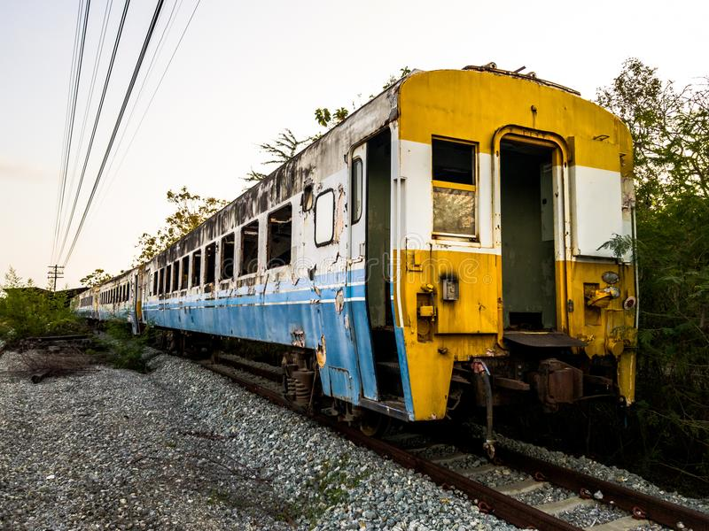 Old bogey of retired train park at the inactive railroad. In Thailand royalty free stock images