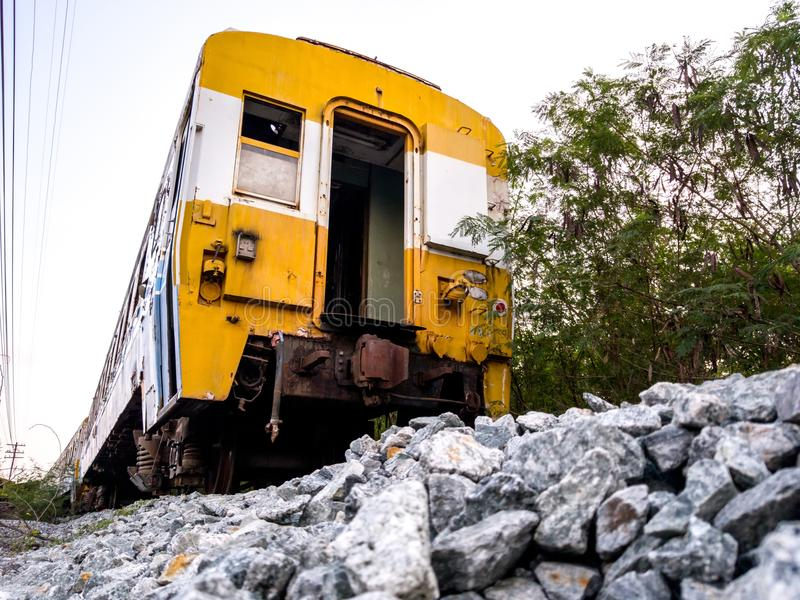 Old bogey of retired train park at the inactive railroad. In Thailand stock image