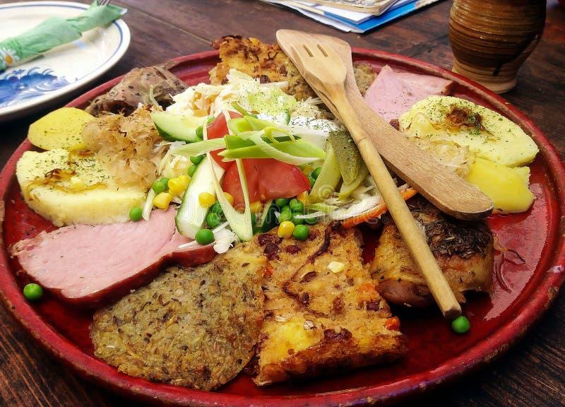 Old Bohemian Vegetarian Feast, Cesky Krumlov, Czech Republic. Old Bohemian Vegetarian Feast from one of the restaurant in Cesky Krumlov, Czech Republic royalty free stock images