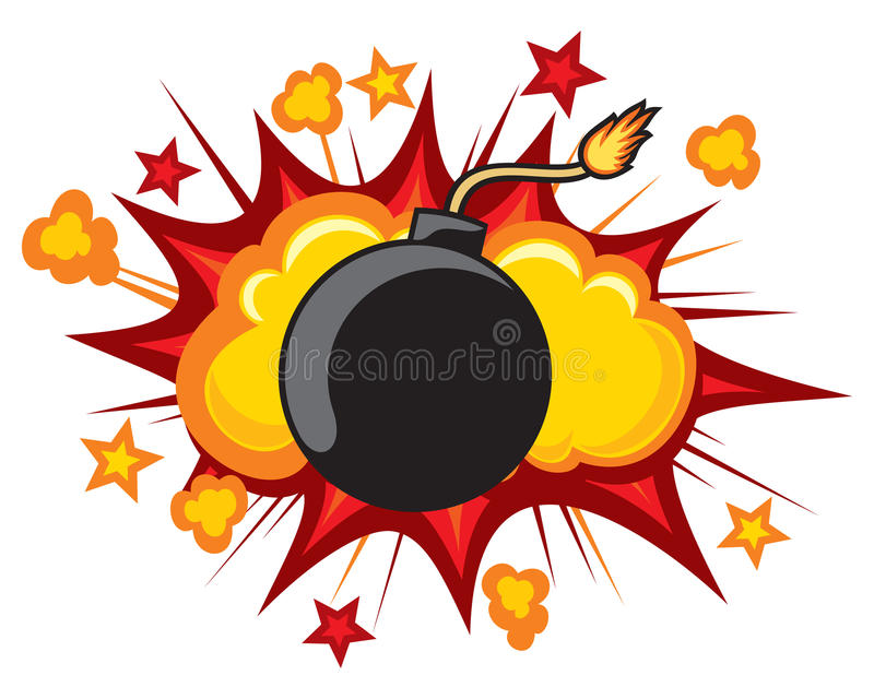 Old bomb. Starting to explode royalty free illustration