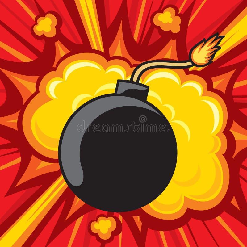 Old bomb. Starting to explode stock illustration