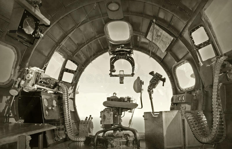 Old bomber cockpit. Cockpit view from World War II era bomber stock photography