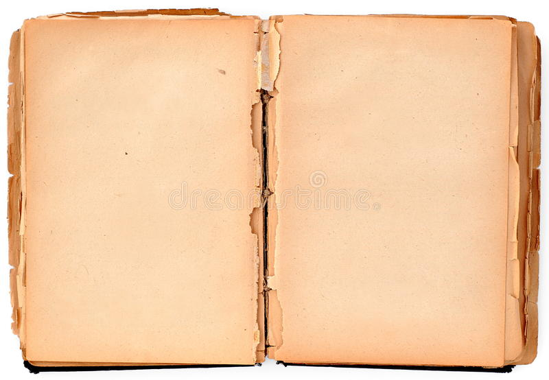 Old book. Old damaged book on white, paper texture royalty free stock photography
