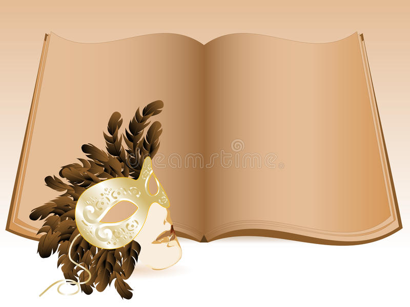 Old book. Elegant old book and luxury face mask royalty free illustration