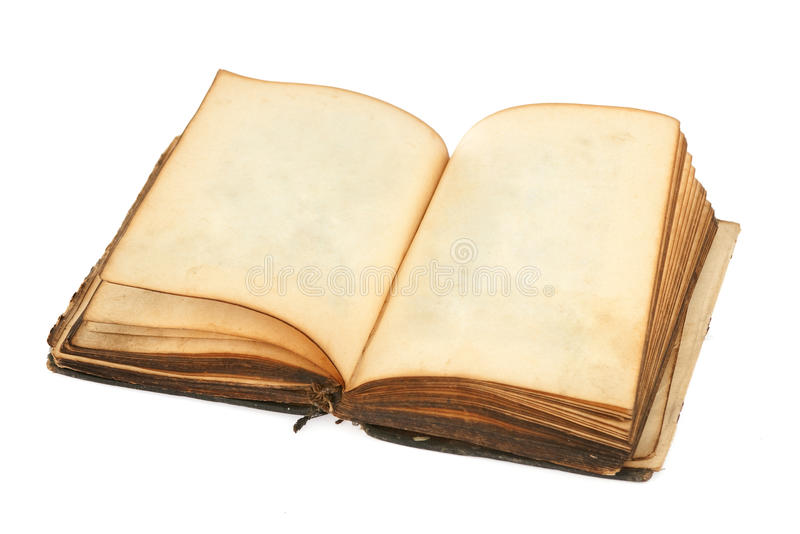 Old book with blank pages. Isolated over white stock photo