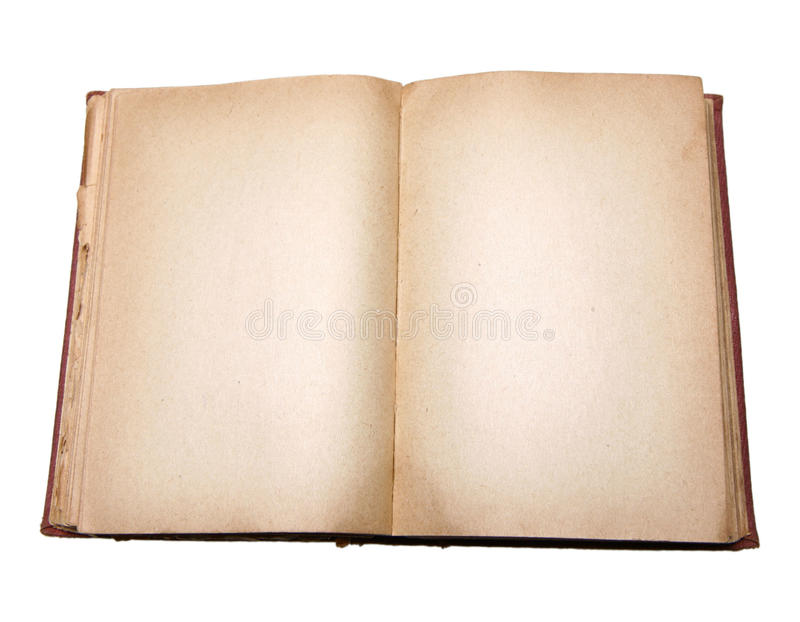 Old book with blank pages. Isolated on white background stock image