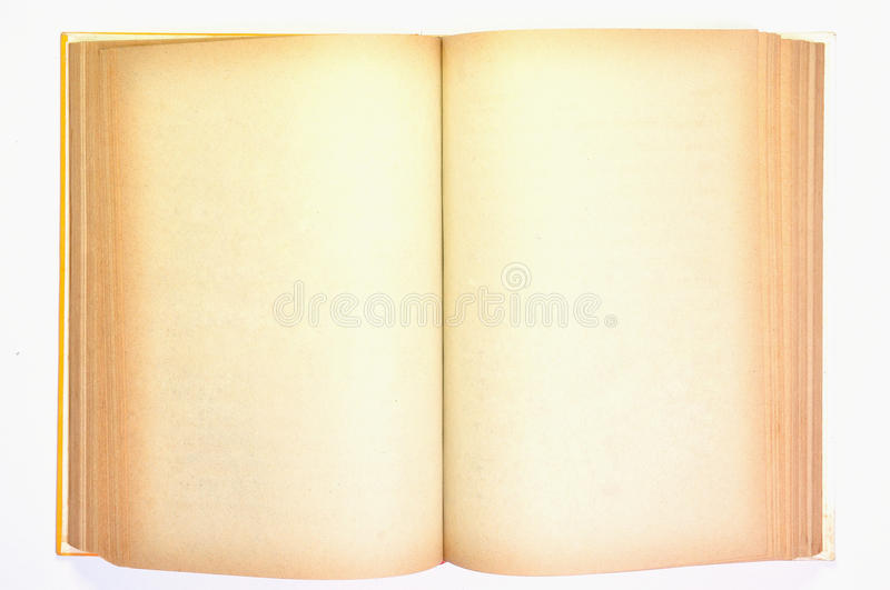 An old book with blank yellow stained pages. For use as Illustration royalty free stock photos