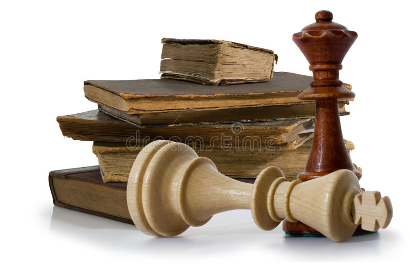 Old book with chess. Old book on white background. Publishing 19 ages royalty free stock image