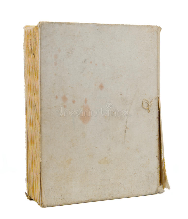 Old Book Cover Isolated on White Background. An old blank torn book cover with stains isolated on a white background royalty free stock photos